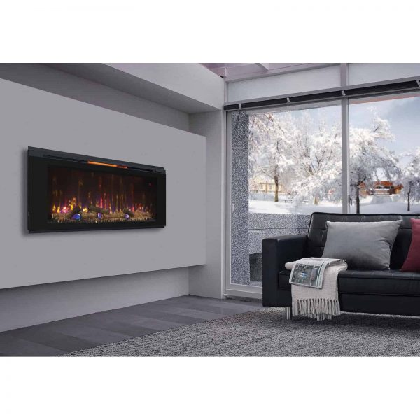 "Helen 48"" Wall Mounted Electric Fireplace, Black 7"
