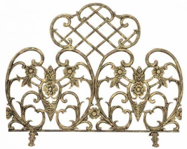 Highly Sculptured Single Panel Gold Aluminum Fireplace Screen