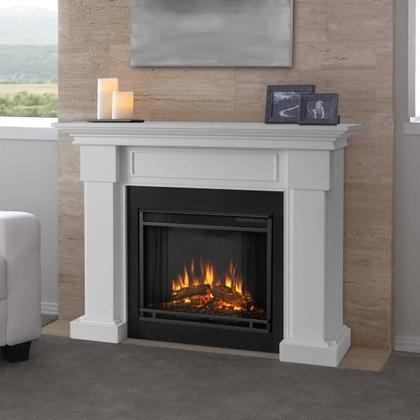 Hillcrest Electric Fireplace in White by Real Flame