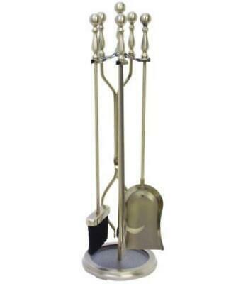 HomeBasix D51340AB3L Antique Brass Fireplace Tool Set