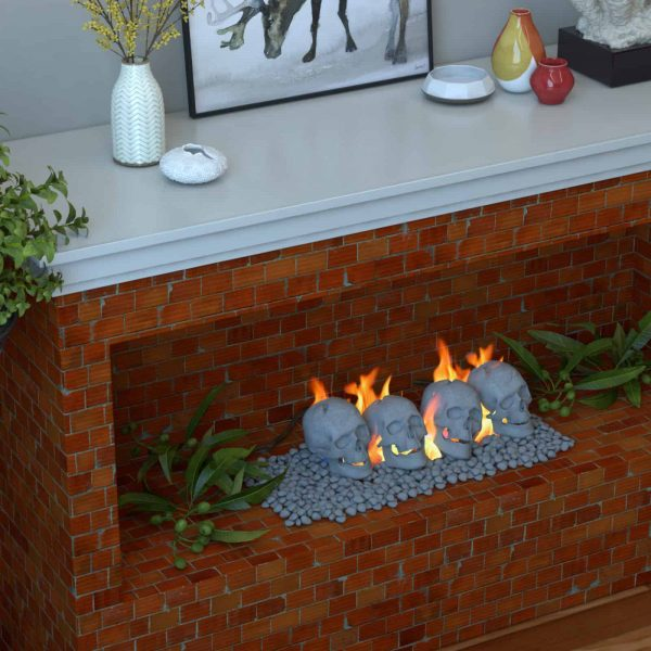 Human Skull Ceramic Wood Large Gas Fireplace Logs Logs for All Types of Gas Inserts, Ventless & Vent Free, P 1