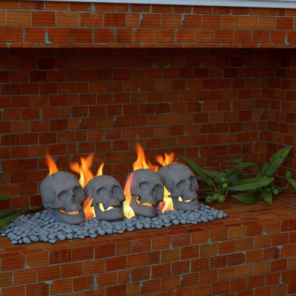Human Skull Ceramic Wood Large Gas Fireplace Logs Logs for All Types of Gas Inserts, Ventless & Vent Free, P 2