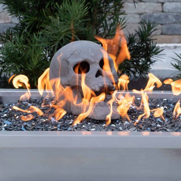 Human Skull Ceramic Wood Large Gas Fireplace Logs Logs for All Types of Gas Inserts, Ventless & Vent Free, P 3