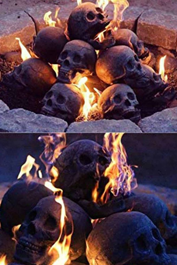 Human Skull Ceramic Wood Large Gas Fireplace Logs Logs for All Types of Gas Inserts, Ventless & Vent Free, P 4