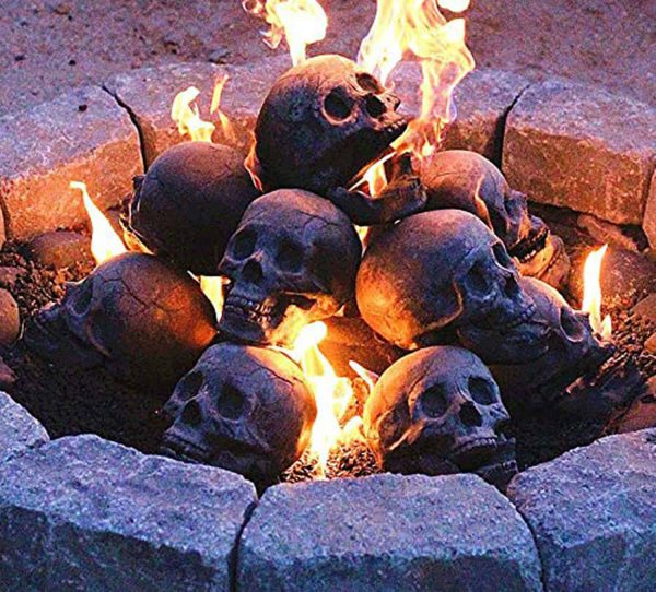 Human Skull Ceramic Wood Large Gas Fireplace Logs Logs for All Types of Gas Inserts, Ventless & Vent Free, P 5