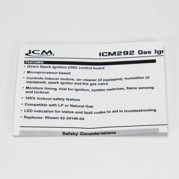 ICM292 ICM Furnace Control Board Module for Rheem: 62-24140-04 3