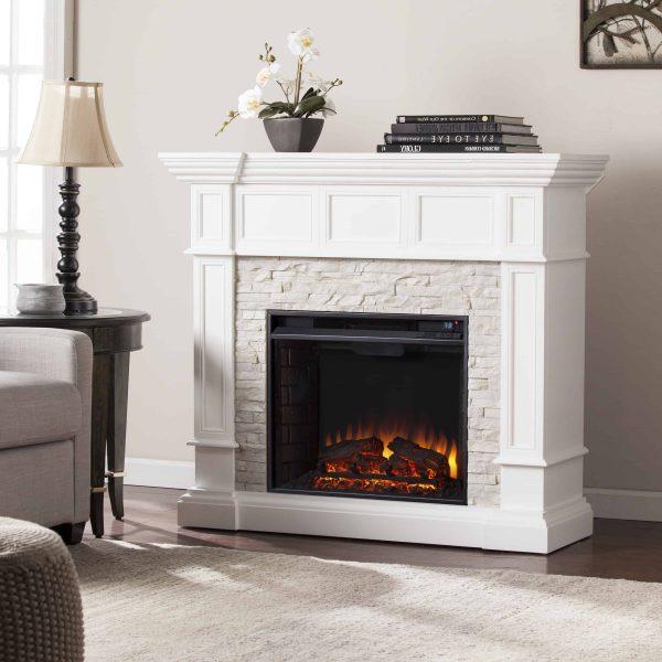 Ignatius Corner Convertible Electric Fireplace, White 2