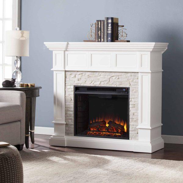Ignatius Corner Convertible Electric Fireplace, White 4