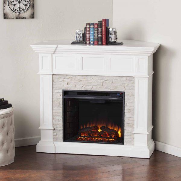 Ignatius Corner Convertible Electric Fireplace, White 7