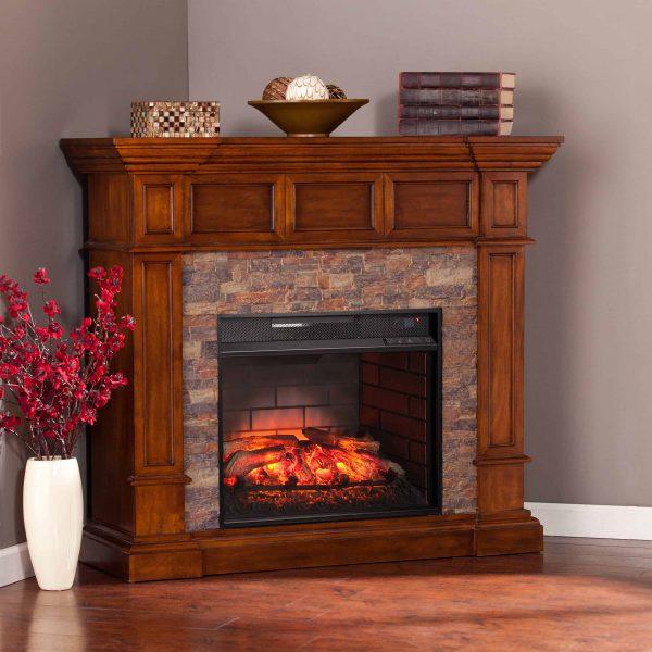 Ignatius Faux Stone Corner Infrared Fireplace, Buckeye Oak 9
