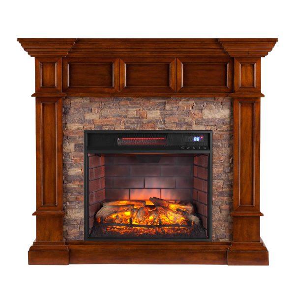 Ignatius Faux Stone Corner Infrared Fireplace, Buckeye Oak 16