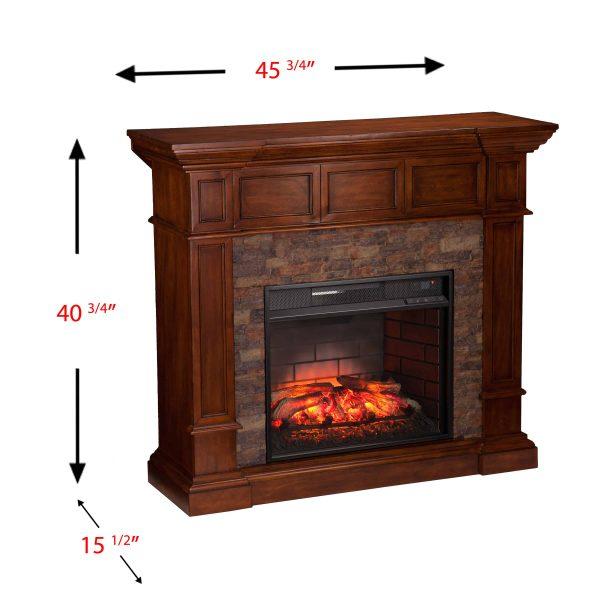 Ignatius Faux Stone Corner Infrared Fireplace, Buckeye Oak 18