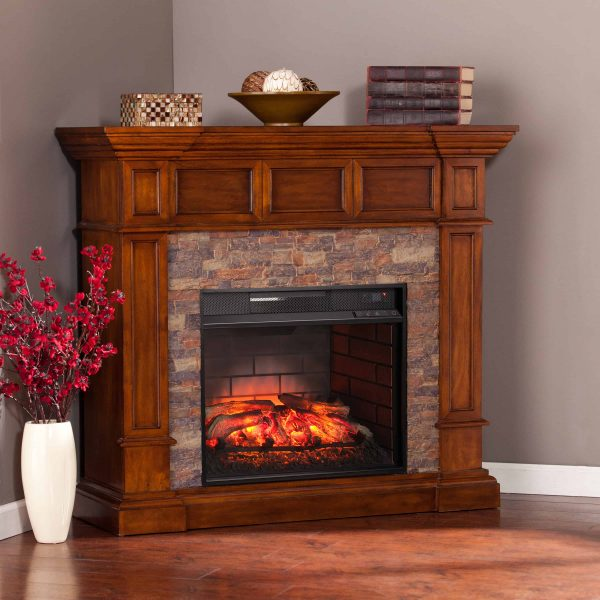 Ignatius Faux Stone Corner Infrared Fireplace, Buckeye Oak 19
