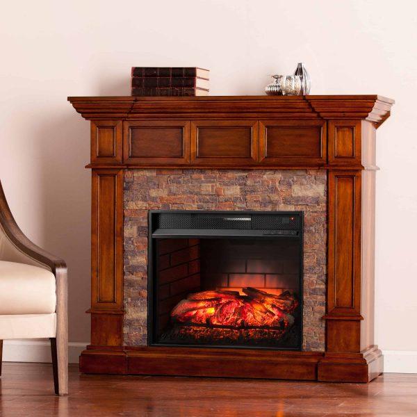 Ignatius Faux Stone Corner Infrared Fireplace, Buckeye Oak 20