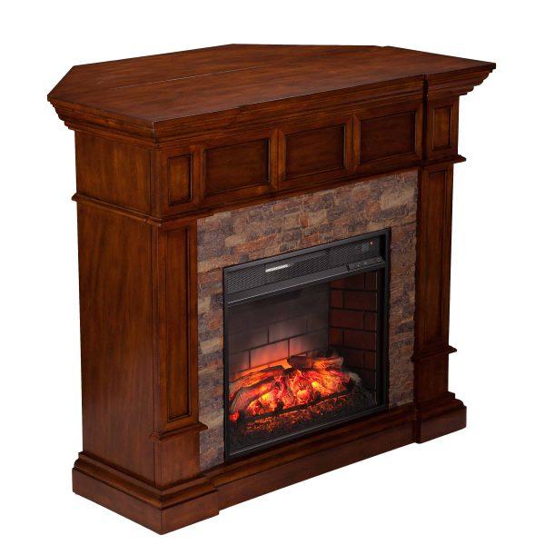 Ignatius Faux Stone Corner Infrared Fireplace, Buckeye Oak 2