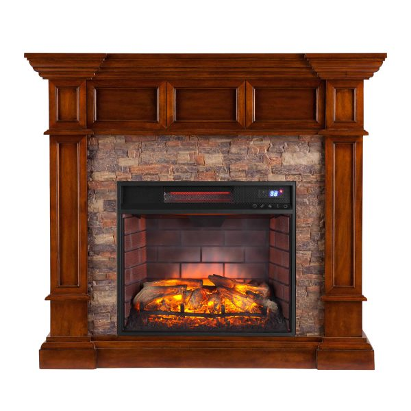 Ignatius Faux Stone Corner Infrared Fireplace, Buckeye Oak 3