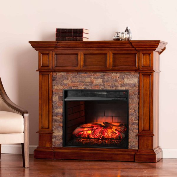 Ignatius Faux Stone Corner Infrared Fireplace