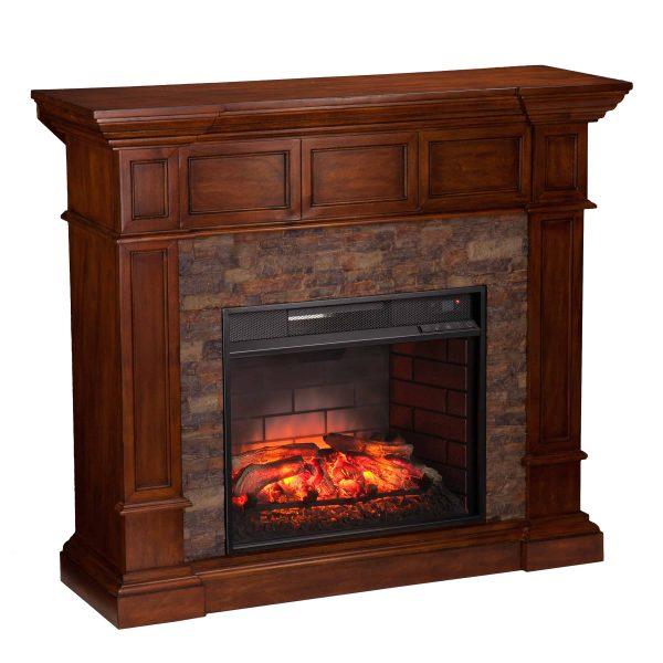 Ignatius Faux Stone Corner Infrared Fireplace, Buckeye Oak 6