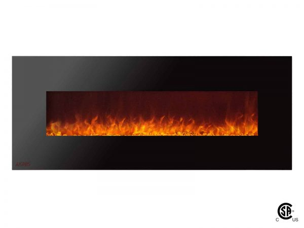 Ignis Royal 60 inch Electric Wall Fireplace with Crystals CSA US Certified