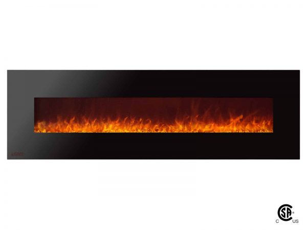Ignis Royal 72 inch Wall Mounted Electric Fireplace with Crystals