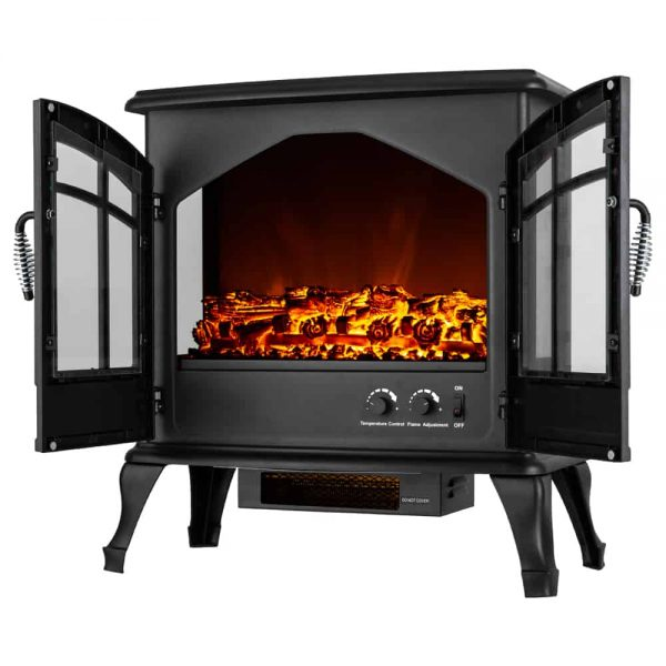 Jasper Free Standing Electric Fireplace Stove by e-Flame USA - Black 1