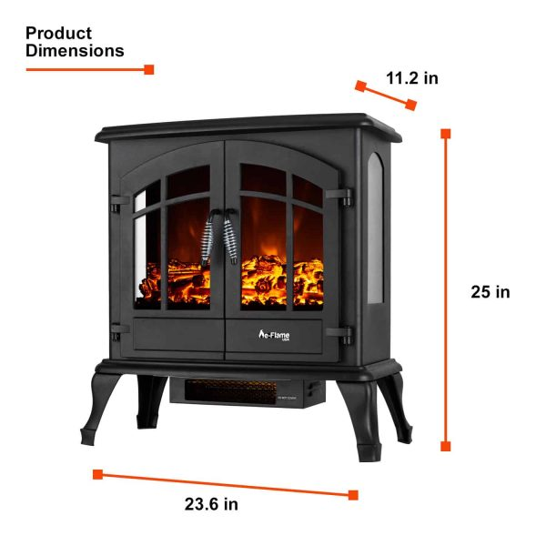 Jasper Free Standing Electric Fireplace Stove by e-Flame USA - Black 4
