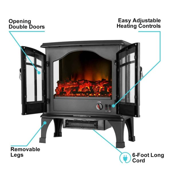 Jasper Free Standing Electric Fireplace Stove by e-Flame USA - Black 5