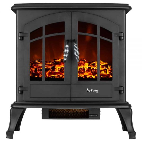 Jasper Free Standing Electric Fireplace Stove by e-Flame USA - Black 6