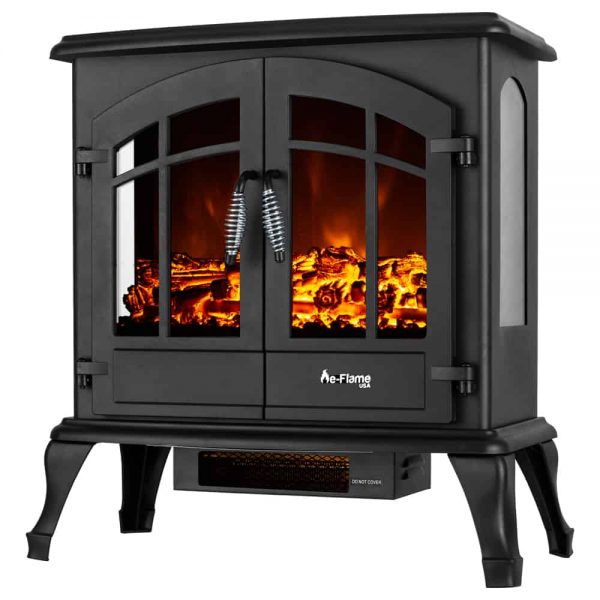 Jasper Free Standing Electric Fireplace Stove by e-Flame USA - Black