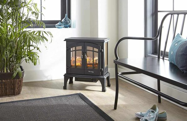 Jasper Free Standing Electric Fireplace Stove by e-Flame USA - Black 7