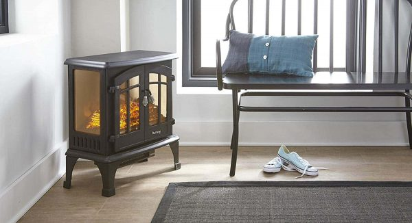 Jasper Free Standing Electric Fireplace Stove by e-Flame USA - Black 9