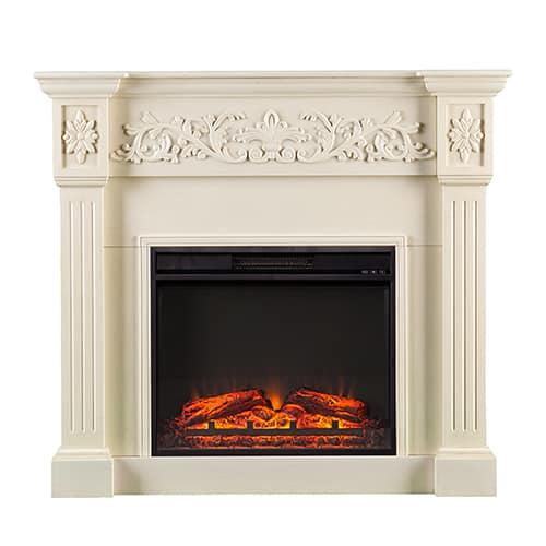 Jordan II Electric Fireplace, Ivory 2