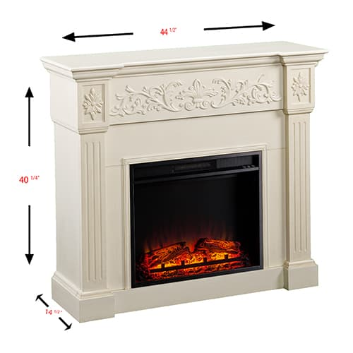 Jordan II Electric Fireplace, Ivory 4