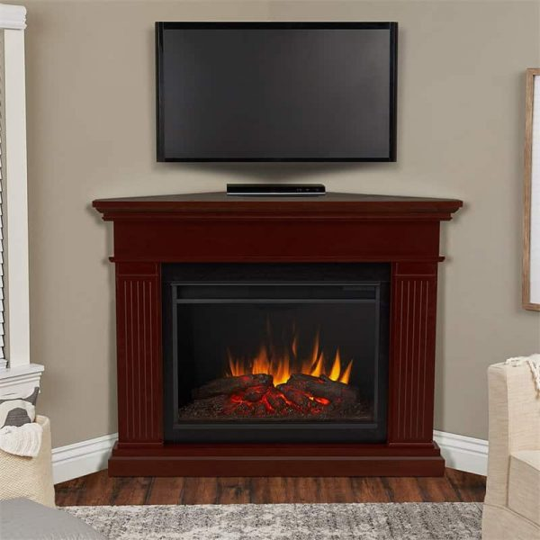 Kennedy Grand Corner Fireplace in Dark Walnut by Real Flame 1