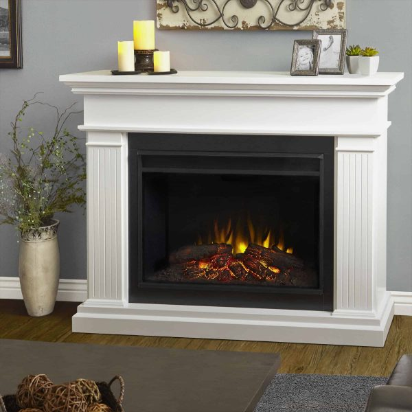 Kennedy Grand Electric Fireplace in White by Real Flame
