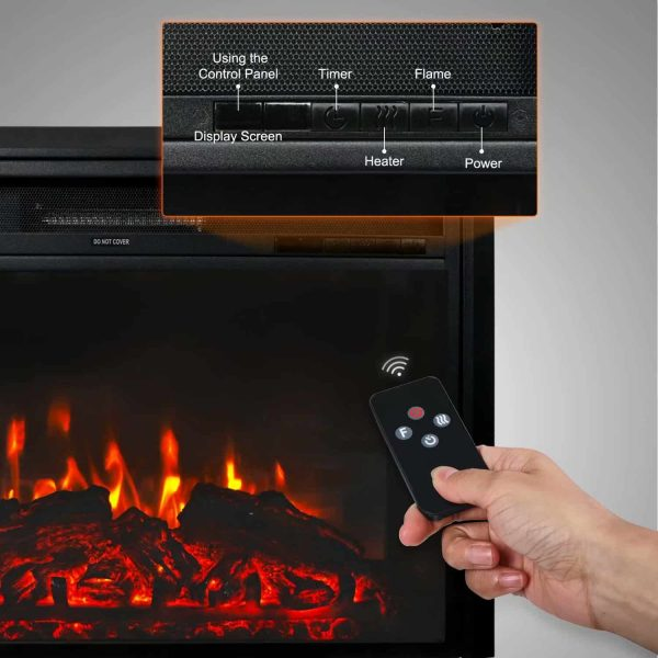 "Kinbor 28"" Electric Wall Mounted Fireplace Heater w/ Adjustable Heating 4"
