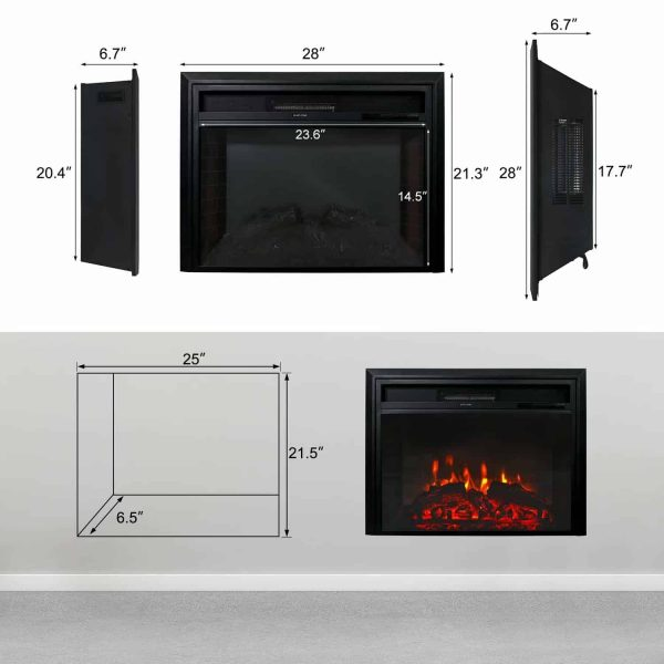 "Kinbor 28"" Electric Wall Mounted Fireplace Heater w/ Adjustable Heating 6"