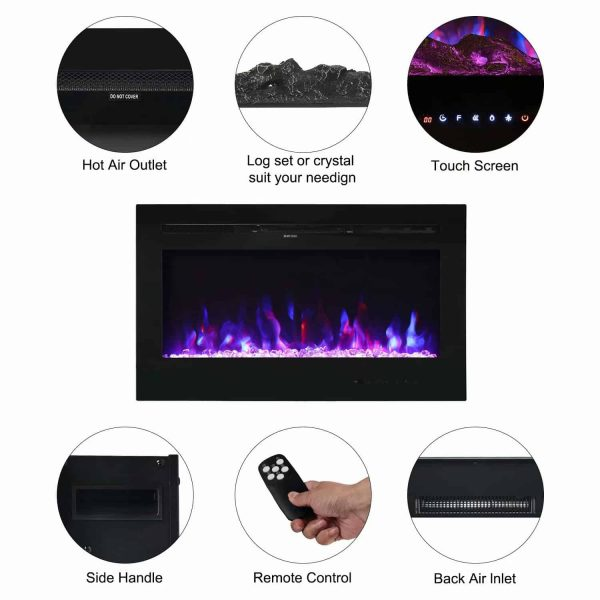 "Kinbor 36"" Electric Wall Mounted Fireplace Heater Realistic 3-Color Lighting Flame 1500/750W Remote Control with Timer 2"