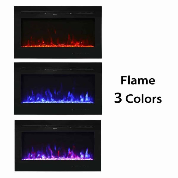 "Kinbor 36"" Electric Wall Mounted Fireplace Heater Realistic 3-Color Lighting Flame 1500/750W Remote Control with Timer 3"