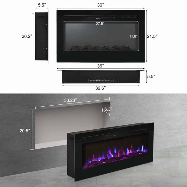 "Kinbor 36"" Electric Wall Mounted Fireplace Heater Realistic 3-Color Lighting Flame 1500/750W Remote Control with Timer 4"