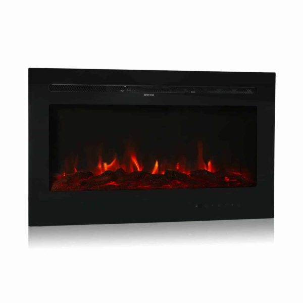 "Kinbor 36"" Electric Wall Mounted Fireplace Heater Realistic 3-Color Lighting Flame 1500/750W Remote Control with Timer 5"