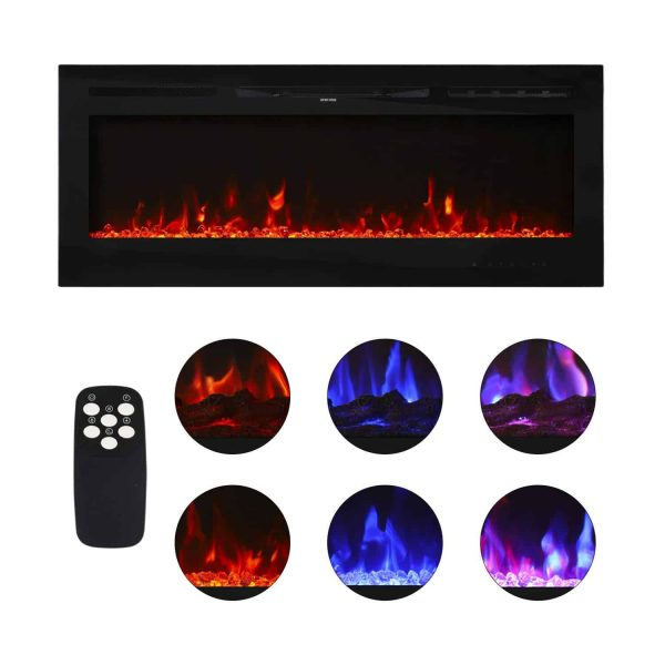 "Kinbor 36"" Electric Wall Mounted Fireplace Heater Realistic 3-Color Lighting Flame 1500/750W Remote Control with Timer"