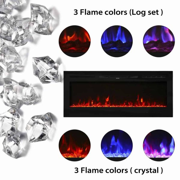"Kinbor 50"" Electric Wall Mounted 3-Color Lighting Flame 1500/750W Remote Control with Timer 2"