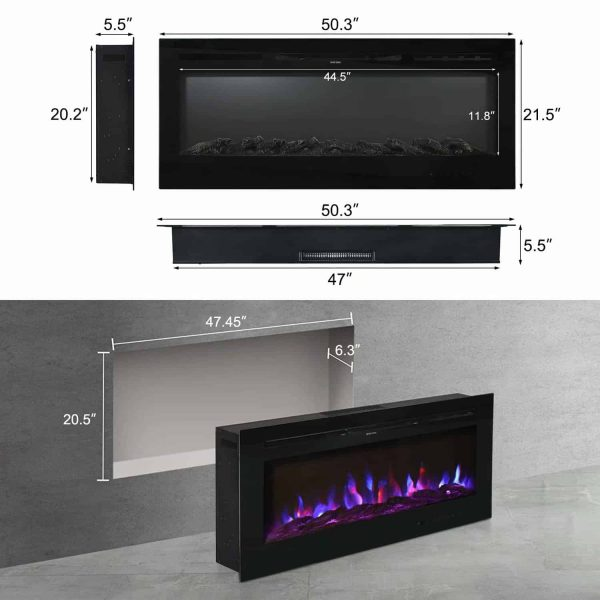 "Kinbor 50"" Electric Wall Mounted 3-Color Lighting Flame 1500/750W Remote Control with Timer 3"