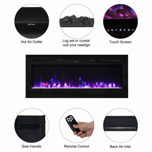"""Kinbor 50"""" Electric Wall Mounted 3-Color Lighting Flame 1500/750W Remote Control with Timer 6"""