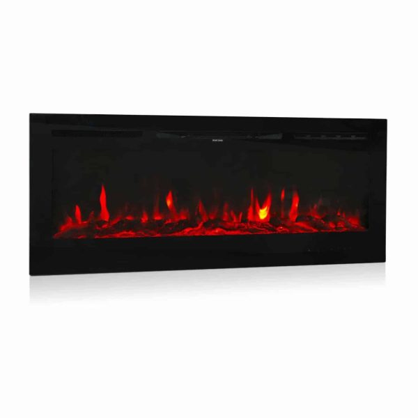 "Kinbor 50"" Electric Wall Mounted 3-Color Lighting Flame 1500/750W Remote Control with Timer"