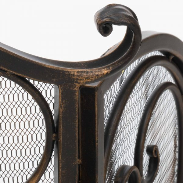 Kingsford Fireplace Screen, Gold on Black 1