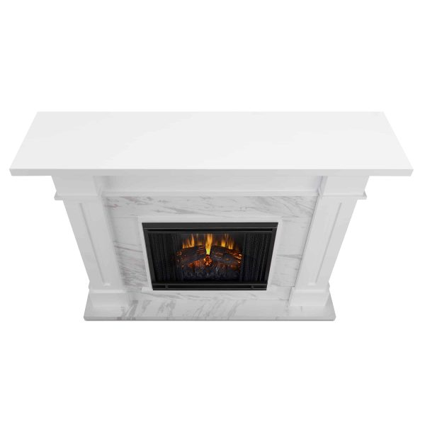 Kipling Electric Fireplace in White with Faux Marble by Real Flame 2