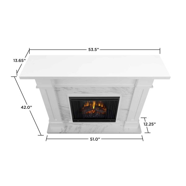 Kipling Electric Fireplace in White with Faux Marble by Real Flame 3