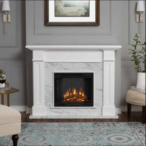 Kipling Electric Fireplace in White with Faux Marble by Real Flame